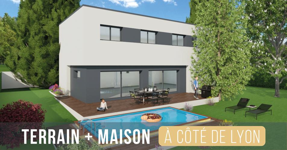 terrain + maison à côté de Lyon